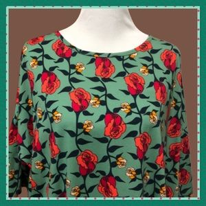 Lularoe 2X Red and Orange Floral Top
